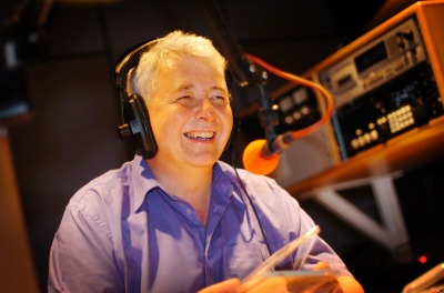 Eamon Friel broadcasting from the studios of BBC Radio Foyle in Derry City, Ireland